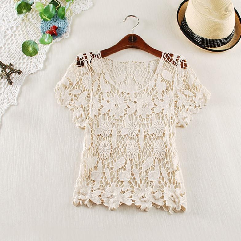 Knitting Pattern For Ladies Vest Top : Nwt Hot New Womens Handmade Hook Flower Lace Crochet Vest ...