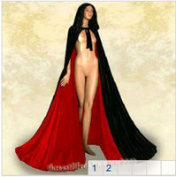 Wholesale New Black Velvet Red Satin Lined Hooded Vampire Cape Halloween Party Cloak wedding Cosplay Size S XXL