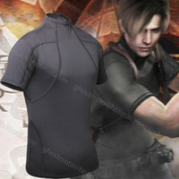 cotton fabric for t-shirt - High Quality Resident Evil Biohazard Leon Kennedy Grey Spandex Fabric Tee T Shirt Cosplay Costume for summer