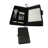 Wholesale Golf Rack bag with Hook Wooden Tees pc Divot tool pc pencil pc ball marker and Scorecard Genuine leather bag packing