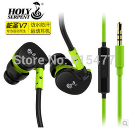 Wholesale HOLY SERPENT V7 Mobile phone hifi headphones ear wire sports running mp3 waterproof earphones Bass headphones