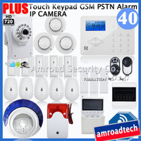 advance security cameras - Most Advanced Touch Keypad GSM PSTN Wireless Security Home Burglar Alarm System HD720P Wifi Network IP Camera iHome328GPB40