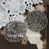 filigree jewelry findings - Min mix order Antiqued Silver plated brass Filigree Jewelry Setting Cab Base Connector Finding FILIG AS