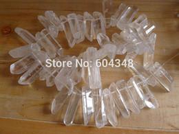 Wholesale Strand beads Titanium Quartz Rock Crystal Titanium freeform spikes points drilled briolettes in white color