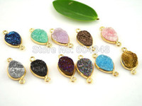 Wholesale Titanium Coating Gold Plated multicolor Drusy Agate Stone Connector Druzy Pendant Drop Shape Jewelry Findings