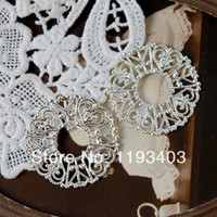 filigree findings - Min mix order Silver plated RAW brass Filigree Jewelry Connectors Setting Cab Base Connector Finding FILIG S