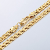 wheat quality - Gold Filled Necklace mm Flat Hammered Wheat Necklace Mens Chain Fashion Jewellery High Quality Jewelry GNM52