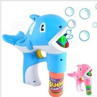 Cheap Large dolphin bubble gun fully-automatic music electric toy bubble machine bubble 2 bottle