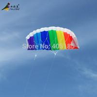 bamboo beach bar - Outdoor High Quality Dual Line1 m Parafoil Kite With Control Bar Line Power Braid Sailing Rainbow Sports Beach