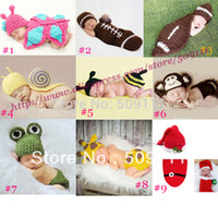 Cheap Crochet Baby Hat and Diaper Cover Costume Christmas Winter Infant Hat Cocoon Set Crochet Beanie Photography Props 10set H311