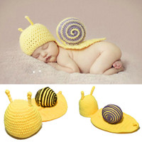 Cheap Cute Handmade Crochet Baby Snail Beanie Costume Crochet Knitted Baby Unisex Photography Props BEBE Outfits 1set MZS-001