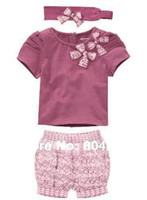 Cheap baby girl's 3pcs clothing sets cut headband+purple short sleeve T shirt+short pant 5pcs lot