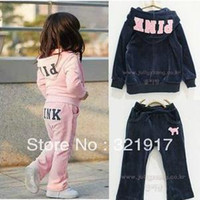 Wholesale PROMOTION PINK Girls Tracksuits Girls Hoody pants Tracksuit B2W2 Children sweat suits Girls jogging suits