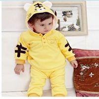 Wholesale baby cute tiger suit boys girls hoodies pants fleece clothes set autumn winter wear clothing