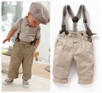 khaki shorts - 2015 new Gentleman baby suit boys suit khaki long pants with braces Lapel short sleeved T shirt with A