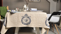 Wholesale Vintage crown linen table cloth coffee side table towel tablecloth shabby chic home decoration toalha de mesa