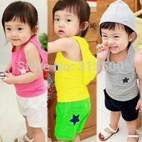 baby lounge - 2015 Summer Child Set Male Child Girls Clothing Baby Vest Shorts With A Hood Set Lounge
