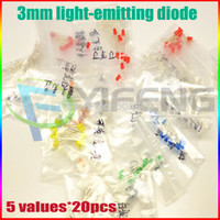 b w pack - 100PCS pack value UltraBright R G B W Y LEDs mm Free Resistors mm light emitting diode