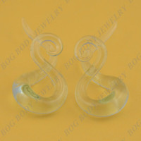 Wholesale Clear Glass Spiral Twisted Ear Tapers Stretchers Expander Guages Sold As Pair BOG