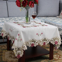 Wholesale New Hot Europe Elegant Polyester Satin Embroidery Tablecloth Embroidered Floral Table Cloth Cover Overlays Home Textile XT1018