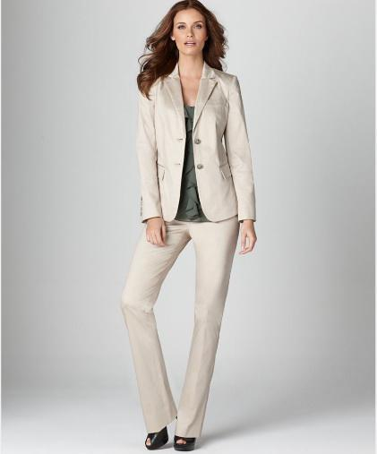 Beige Women Suit Custom Tailor Suit Single Breasted Two Button ...