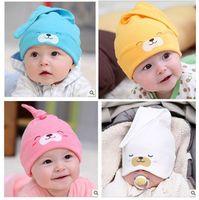 used tires - Newborn tire cap baby pocket sleeping hat cap baby cotton cloth cap dodechedron cap Cartoon Bear pattern T use