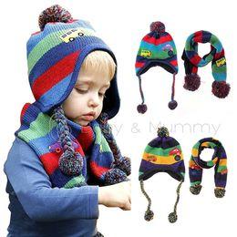 Toddler Boy Girl Baby Child Pompom Hat Beanie Stripes + Scarf Shawl Knitted blue green