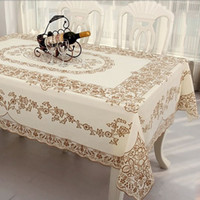 pvc table cloth - New Home decoration Waterproof lace table cloth cover PVC anti oil christmas tablecloth Environmental gilt openwork tablecloths