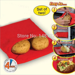 Wholesale-Wholesale 5 PCS LOT Microwave Baked Potato Cooking Bag Red Color For Christmas Dinner Cooking