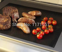 Cheap Wholesale-Free shippig 12 pcs 40X50CM Non stick PTFE BBQ liners oven liner Grill foil Barbecue liner reusable Teflon cooking sheet