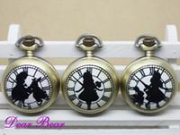 antique bronze mirror - Vine Bronze Alice in Wonderland w Rabbit Quartz Pocket Watch Necklace with mirror inside free ship