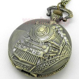 Wholesale Vine Antique Train Front Locomotive Engine Necklace Pendant Quartz Pocket Watch Chain Womens Mens Gift P107