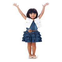 3 piezas para niños Equipos Toddler Girls rizó Denim Jean Faldas + Escudo Cinturón vestuario 2-7Y +