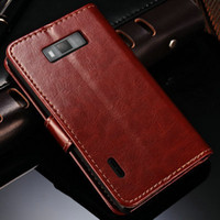 bak flip covers - Hot Sale Stand Book PU Leather Case For LG P705 Optimus L7 P700 Luxury Phone Bak Cover Flip Style With Card Slot Black