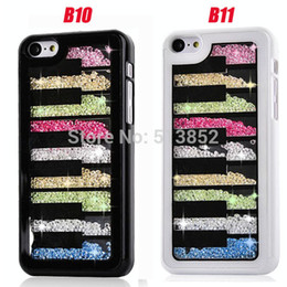 Wholesale-Fashion Multicolor Luxury Crystal Clear Rhinestone PC Plastic Protection Case Cover for iPhone 5&5S+1pc Screen Film