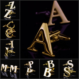 26 design personal initial letter a z gold toned stainless steel mens cufflinks leave which design to send when order
