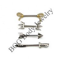 arrow barbell - BOG Pair knife Fork Arrow Bow Tie Shape Nipple Bar Barbell Piercing Rings