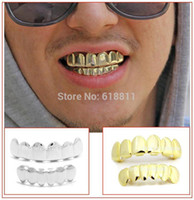 Wholesale Nickel free lead free Hiphop removable K gold plated Copper GRILLZ for Fun Gold Top amp lower Teeth Grills Set w colors