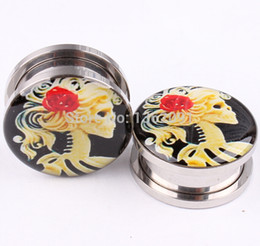 Wholesale Screw Taper Plug - 1 PAIR Ear Expander Fashion Logo Ear Taper Screw Ear Stretcher Ear Plug Piercing Body Jewelry