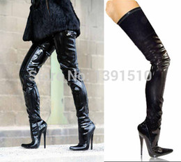 Summer high heels boots,Sexy 18cm high heels black PU leather women's thigh high boots,men sexy overknee boots size US12