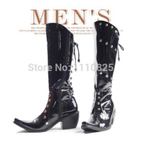 Cheap Free shipping Fashion Punk Lace-Up Rivets Over-the-Knee Boots for men, Performance of dancing shoes, men's Work & Safety boots