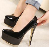 Wholesale 2016 new square head patent leather pumps women shoes fashion super high heels size