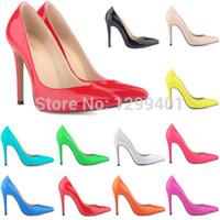 al por mayor sexy high heels-MUJERES CALIENTES SEXY POINTED Patente TOE PU TACÓN ALTO CORSÉ ESTILO DE TRABAJO BOMBAS DE CORTE ZAPATOS US4-11
