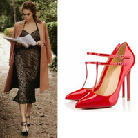 red bottoms heels - Women Stiletto Pumps Sexy Red Bottom Ankle Strap Shoes Pointed Toe High Heels New Ladies Wedding Shoes