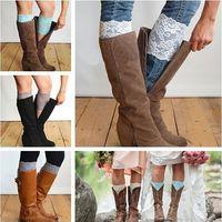 stretch lace trim - Stretch Lace Boot Cuffs Women GIRLS LEG WARMERS Trim Flower Design Boot Socks Knee