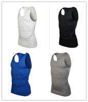 Wholesale 2015 Men Body Compression Base Layer Sleeveless Sport Vest Thermal bodybuilding Tank Tops High Flexibility Basketball Undershirt