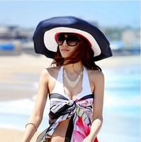 Cheap Women sun hats beach hat straw hats summer fashion beach cap big along sunbonnet sun hat