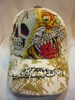 Wholesale 2015 HOT free Ed hardy head diamond paragraph fashion casual hat ed hardy