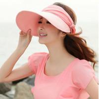 Wholesale Fashion Lovely ladies style womens visor cap scarves flowers wide brim beach foldable sun hat colors