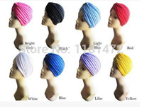 Wholesale 10Pcs Hat amp Beanie Solid Adult Active Polyester Unisex Indian Stretchable Turban Hat Headband Wrap Cap Headwrap Bandanas